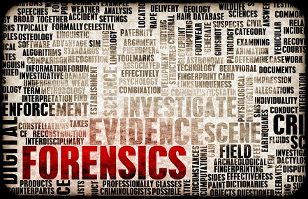 A board of words related to forensics and nursing