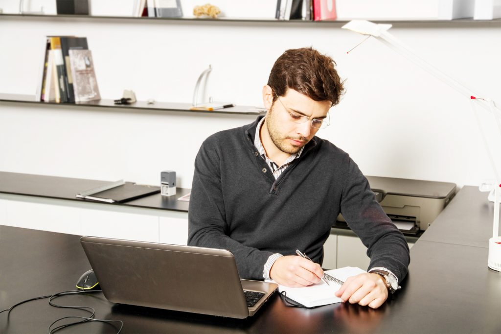 young man start up working on desk